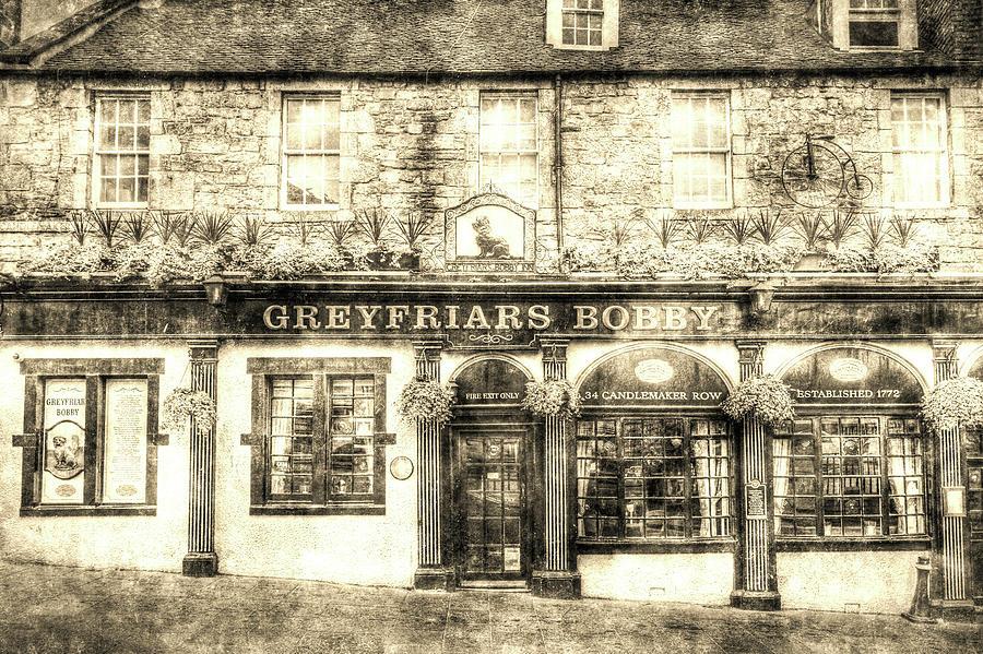 Vintage Pub Photograph - Greyfriars Bobby Pub Edinburgh Vintage by David Pyatt