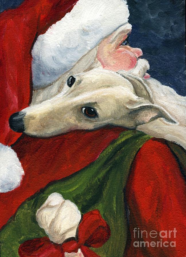 Dog Painting - Greyhound And Santa by Charlotte Yealey