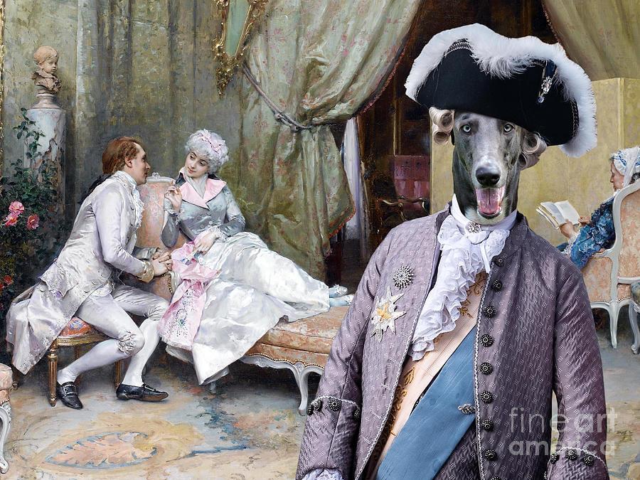 Greyhound Art Canvas Print The Flirting Painting By Sandra Sij