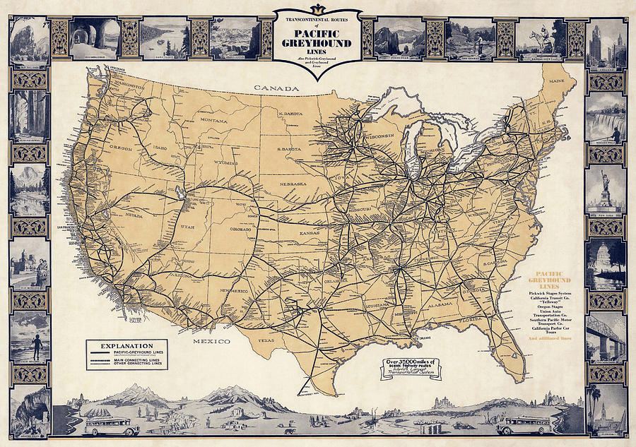 Greyhound Bus Route Map C. 1932 Photograph by Daniel Hagerman
