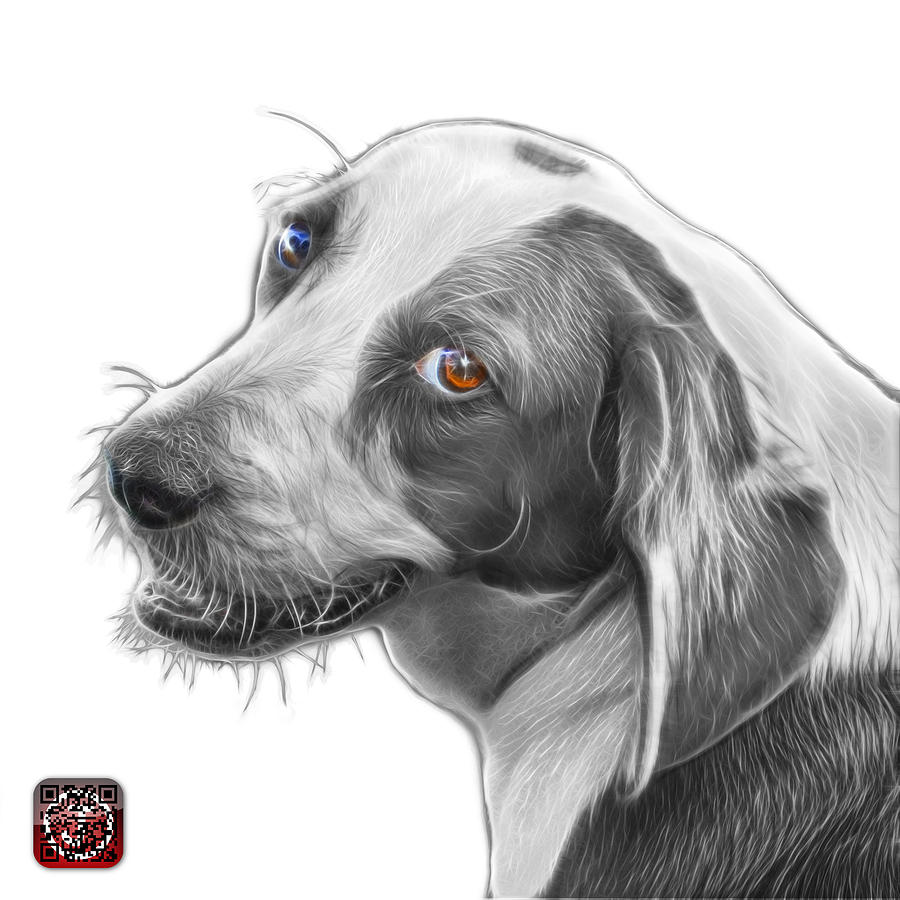 Greyscale Beagle dog Art- 6896 -WB by James Ahn