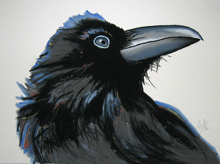 Raven Painting - Greystoke by Brenda Wolf