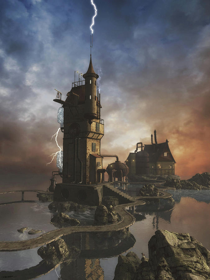 Fantasy Digital Art - Grid Station 5 by Cynthia Decker