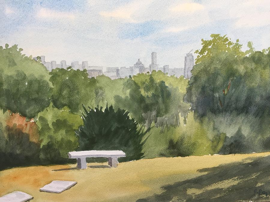 Mount Auburn Cemetery Painting - Grieving Bench  by Peggy Poppe