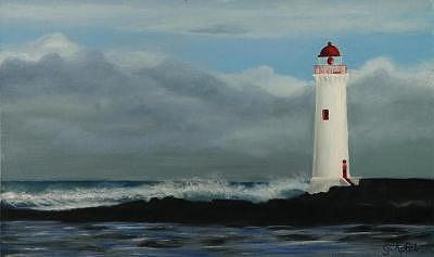 Griffith Island Lighthouse Painting by Gloria Apfel