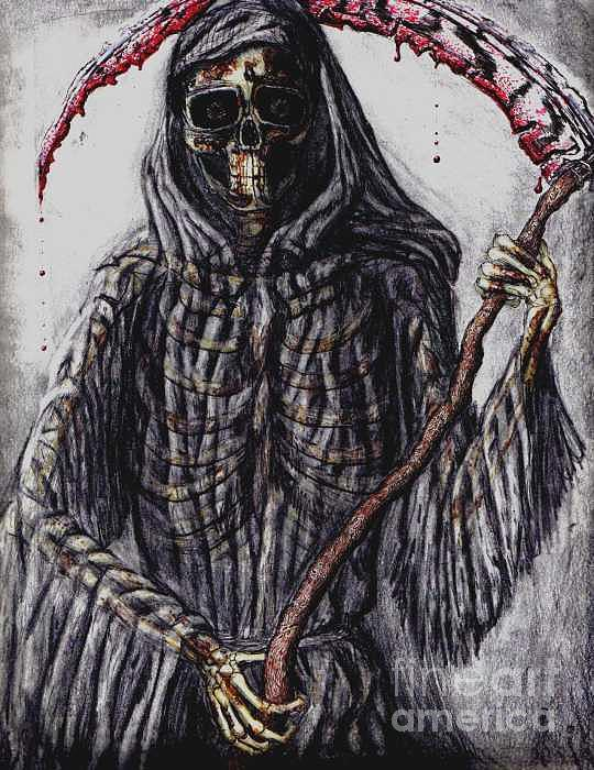 Grim Reaper Drawing - Grim Reaper Colored by Katie Alfonsi