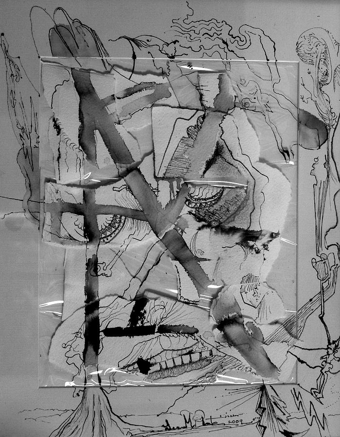 Pen And Ink Drawing - Grimace Under Glass by Lee Plate