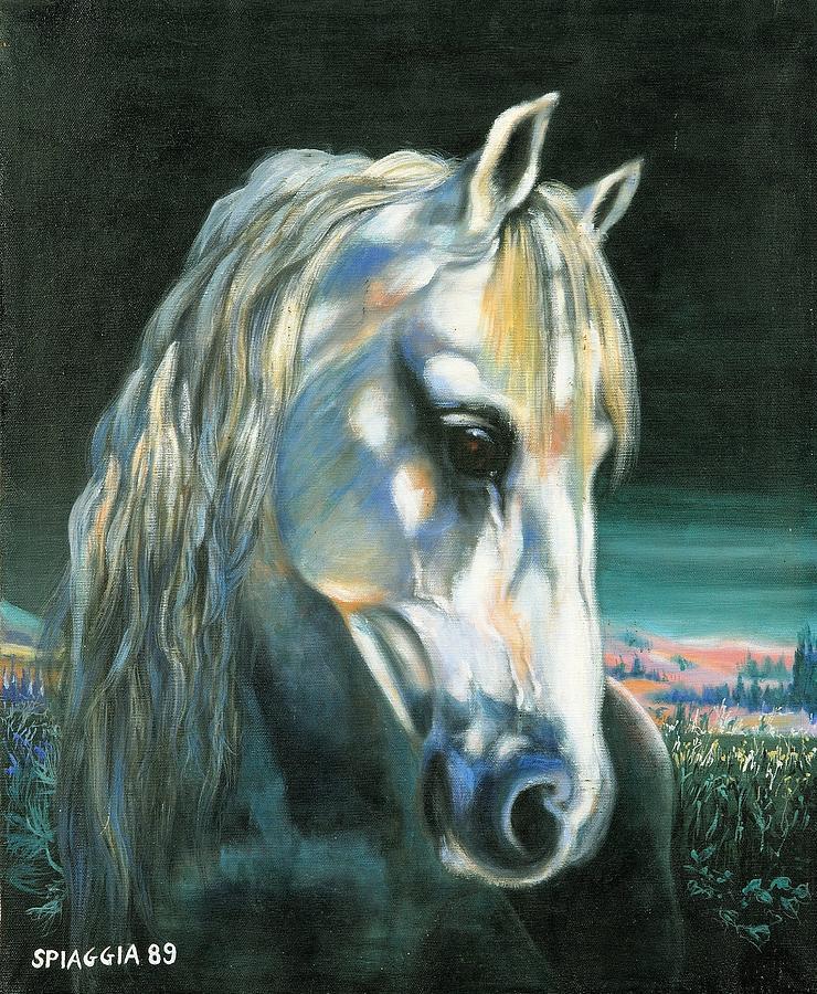 Horse Painting - Gringo Etalon Portugais by Josette SPIAGGIA