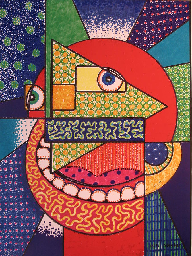 Cubism Painting - Grinning Redneck by Bill Meeker