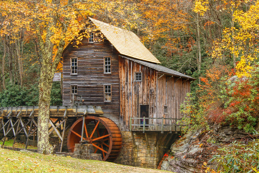 Babcock State Park Photograph - Grist Mill In Autumn Hues by Ola Allen