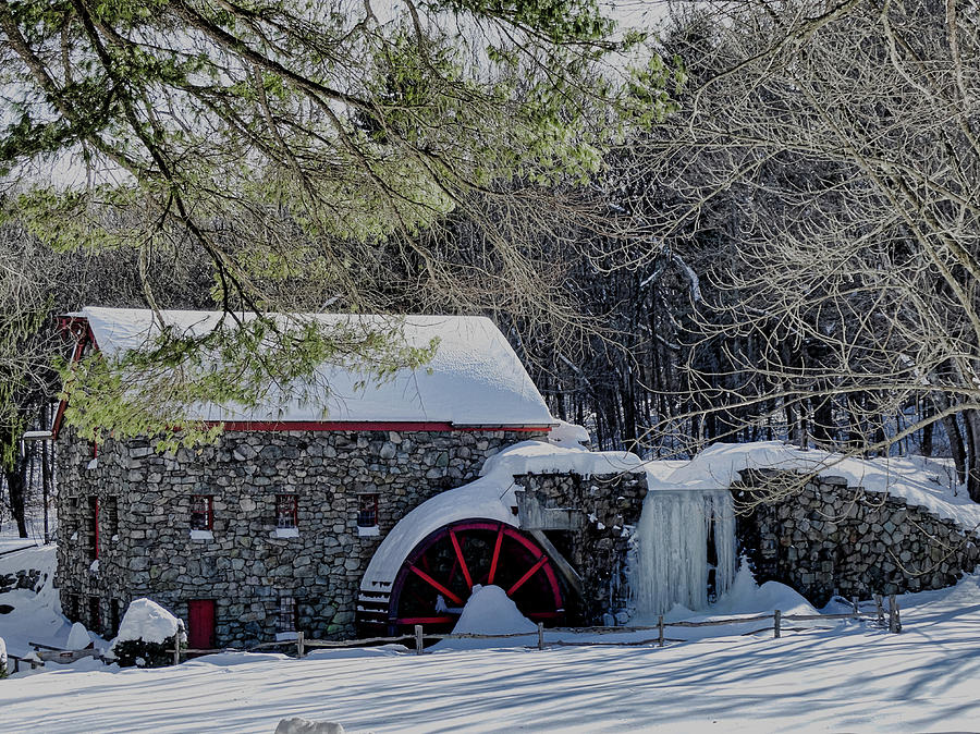 Grist Mill Photograph - Grist Mill In Winter by Bill Dussault