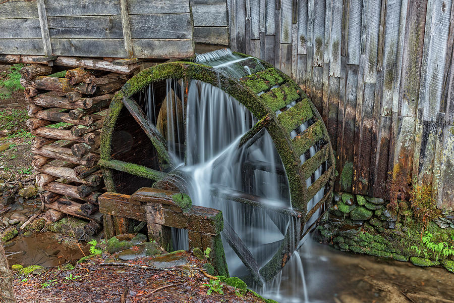 Grist Mill Water Wheel In Cades Cove by Jim Vallee