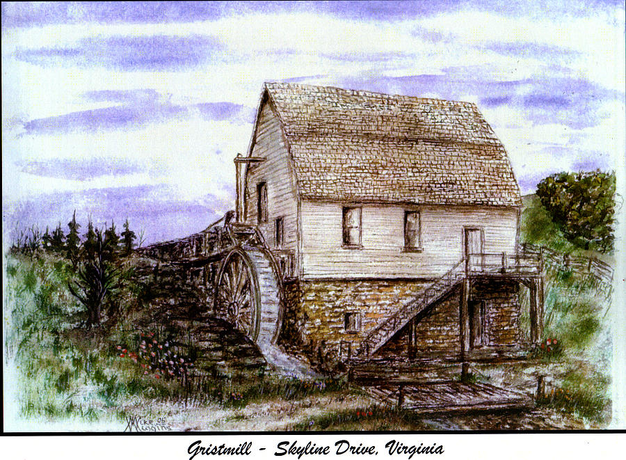 Virginia Drawing - Gristmill Skyline Drive Va by Mike Wiggins