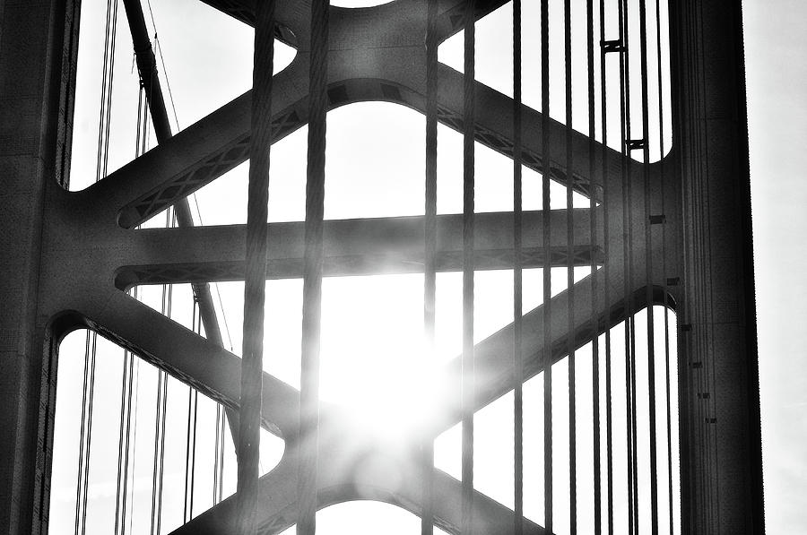 Gritty Photograph - Gritty Philadelphia - Sunrise Through The Ben Franklin Bridge by Bill Cannon