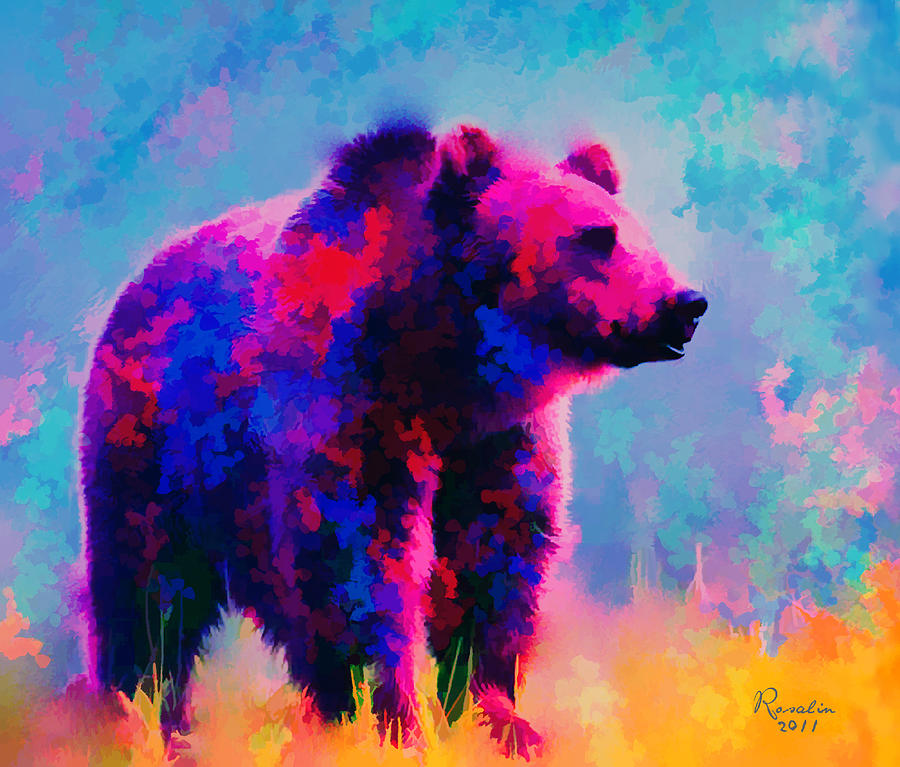 Bear Painting - Grizzly Bear  by Rosalina Atanasova