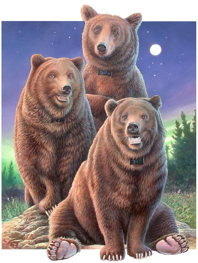 Grizzly Painting - Grizzly Bears In Starry Night by Hans Droog