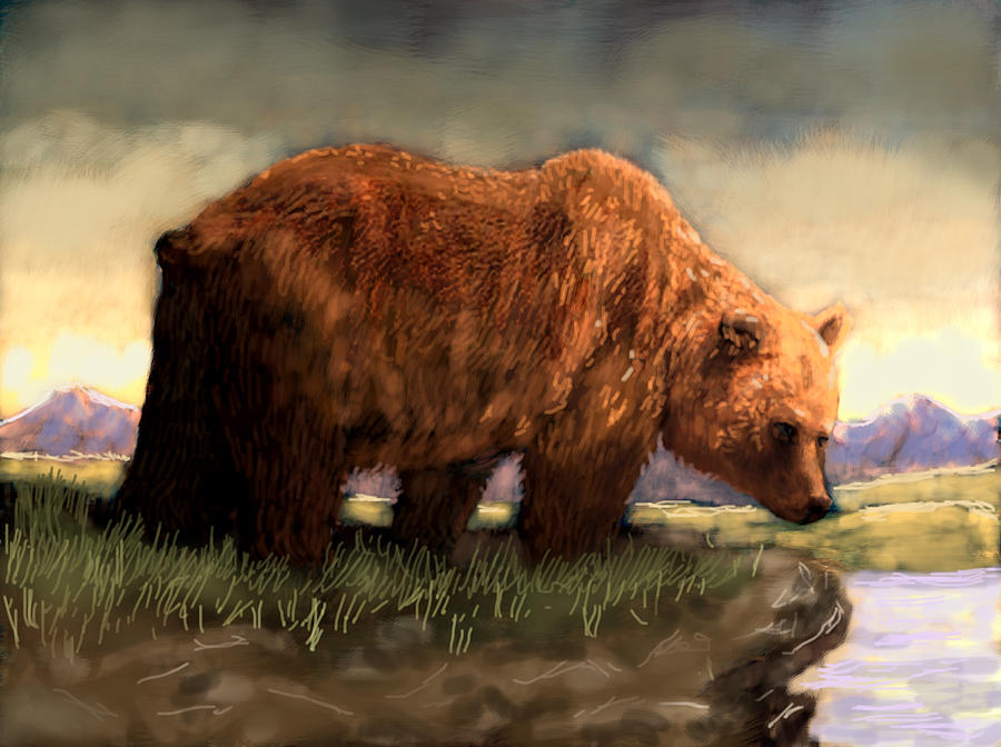 Grizzly Digital Art by Jim Armstrong