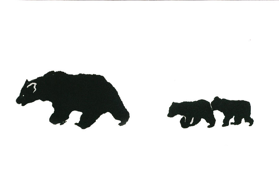 Wildlife Print - Grizzly Sow And Cubs by Harriet Greene