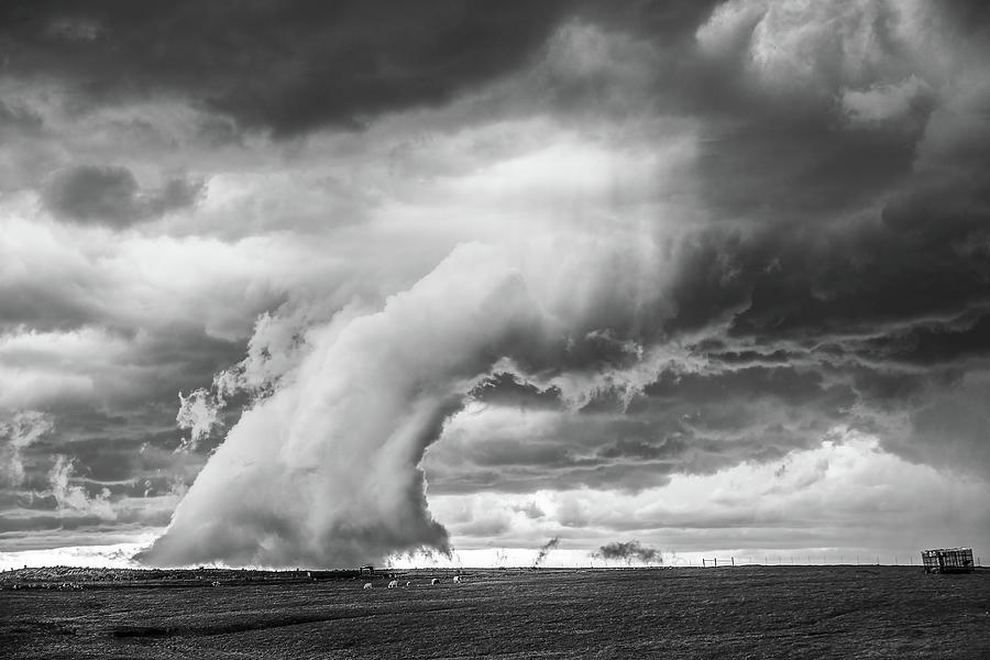 Severe Storm Photograph - Groom Storm BW by Scott Cordell