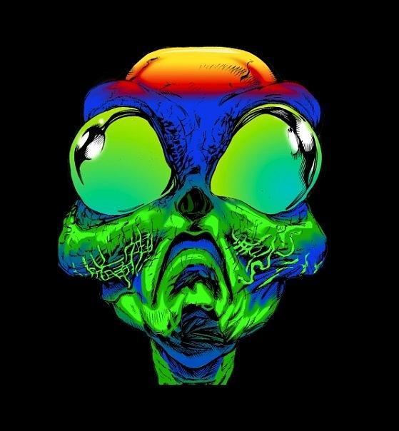 Aliens Digital Art - Groovy Alien by Ray Amante