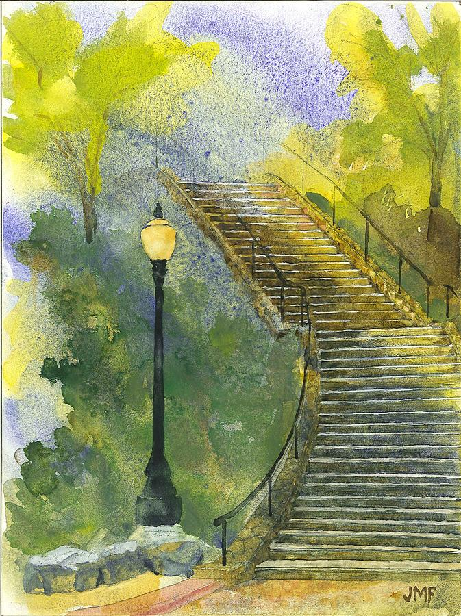 Stairs Painting - Grotto Stairs by John Meng-Frecker