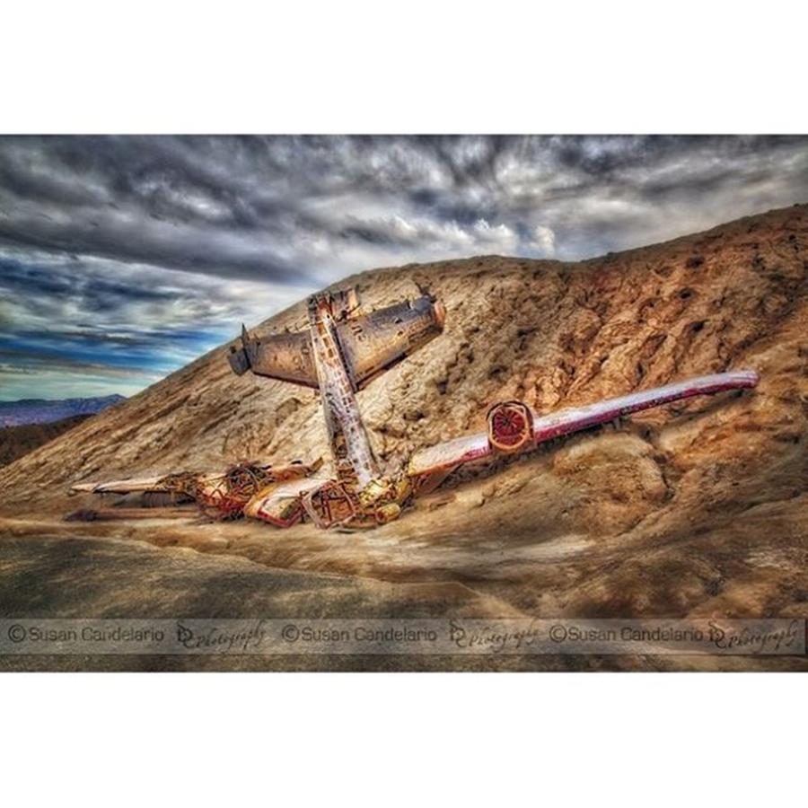 Ghosttown Photograph - Grounded Plane Wreck #americana #nevada by Susan Candelario