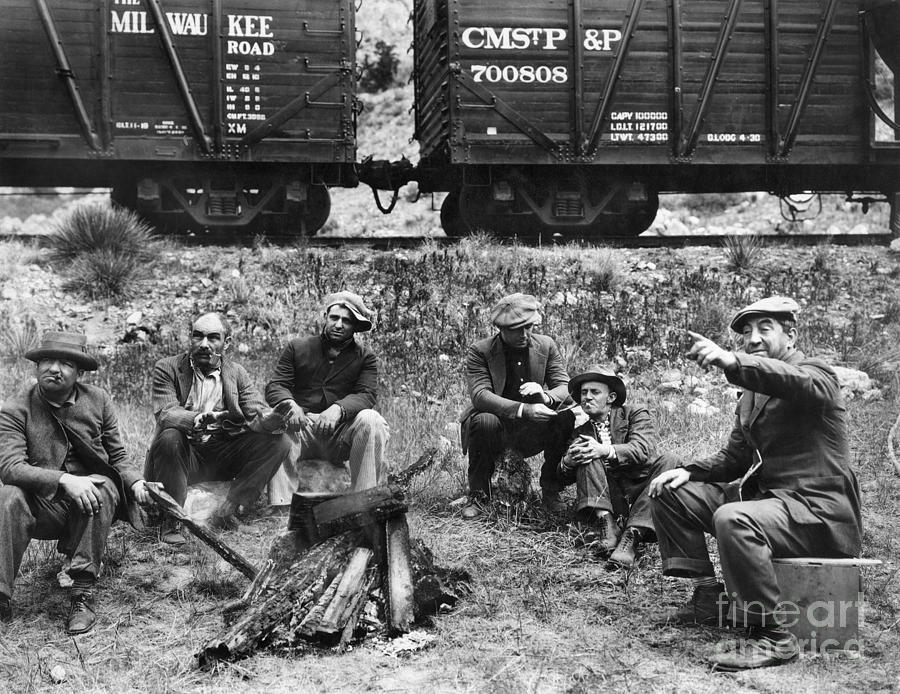 1920s Photograph - Group Of Hoboes, 1920s by Granger