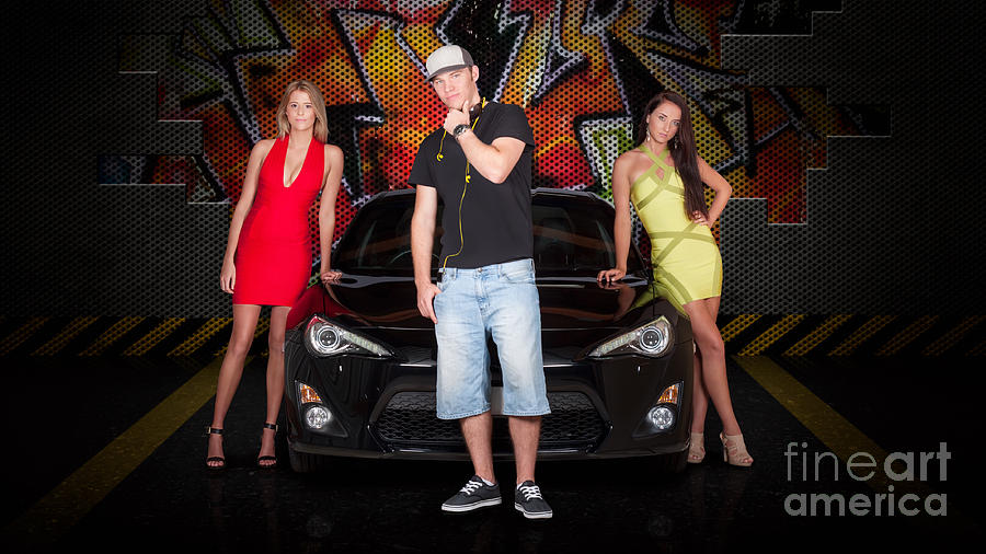 People Photograph - Group Of Young People Beside Black Modern Car by Jorgo Photography - Wall Art Gallery