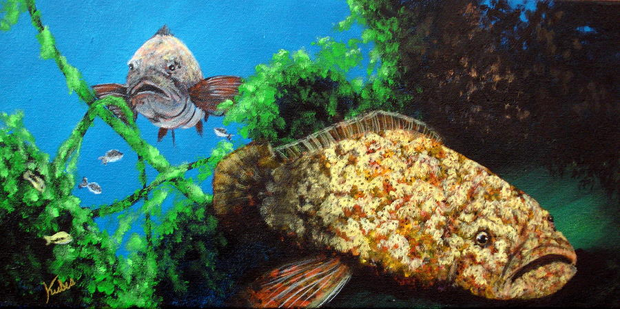 Gamefish Painting - Grouper in Wreck by Susan Kubes