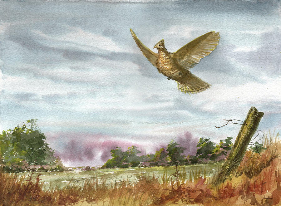 Grouse Painting - Grouse Post by Sean Seal