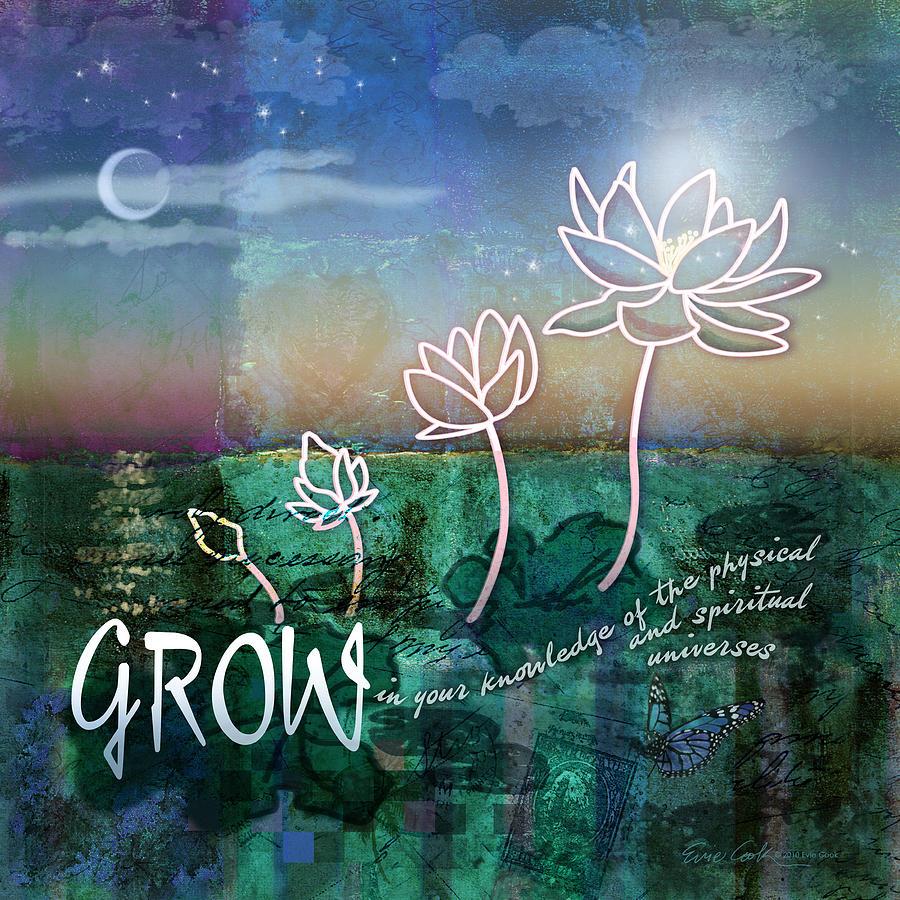Lotus Digital Art - Grow by Evie Cook