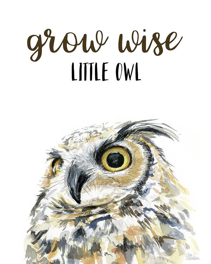 Owl Watercolor Painting - Grow Wise Little Owl by Olga Shvartsur