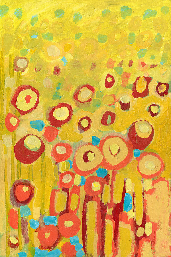 Abstract Painting - Growing In Yellow No 2 by Jennifer Lommers