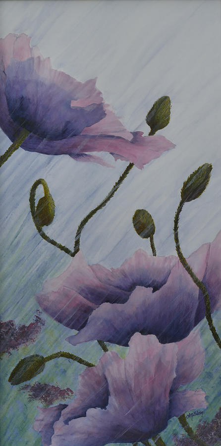 Poppy Painting - Growing Rains by Lisa Gibson