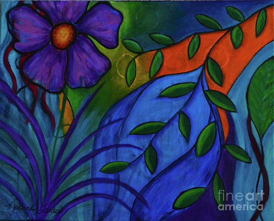 Purple Painting - Growing Wild by Nadine J Larder