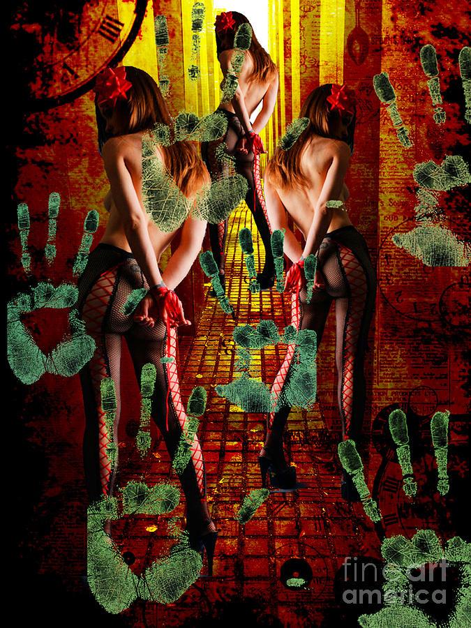 Human Trafficking Mixed Media - Grubby Littel Hands Enslave by Tammera Malicki-Wong