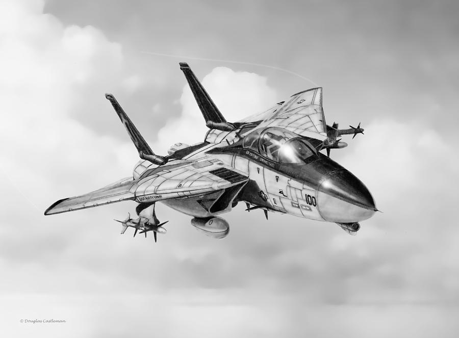 Navy Drawing - Grumman F-14 Tomcat by Douglas Castleman