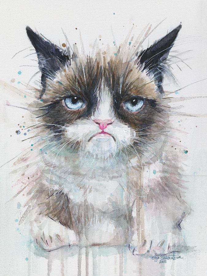 Watercolor Painting - Grumpy Cat Watercolor Painting  by Olga Shvartsur