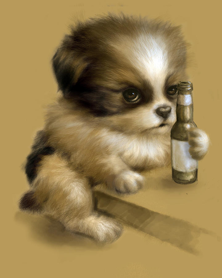 Chinese Chin Mix Digital Art - Grumpy Puppy Needs A Beer by Vanessa Bates