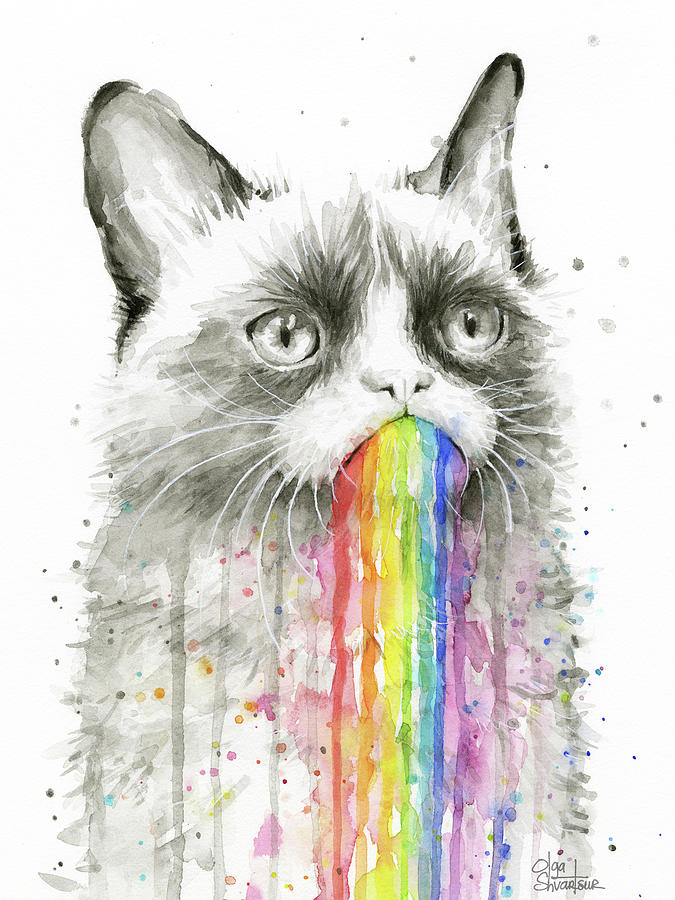 Grumpy Rainbow Cat Painting by Olga Shvartsur