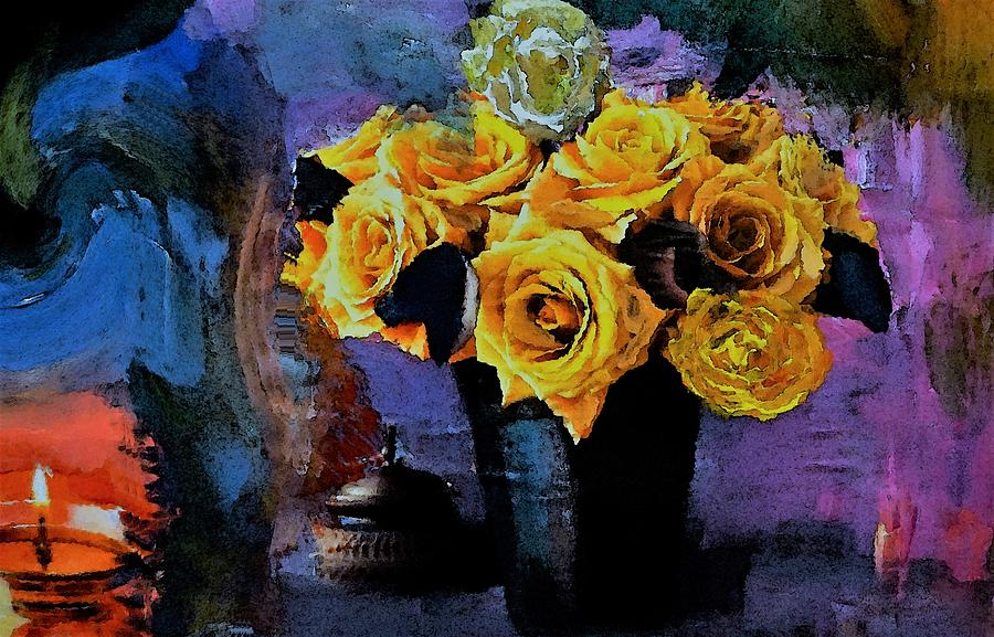 Yellow Digital Art - Grunge Friendship Rose Bouquet With Candle By Lisa Kaiser by Lisa Kaiser