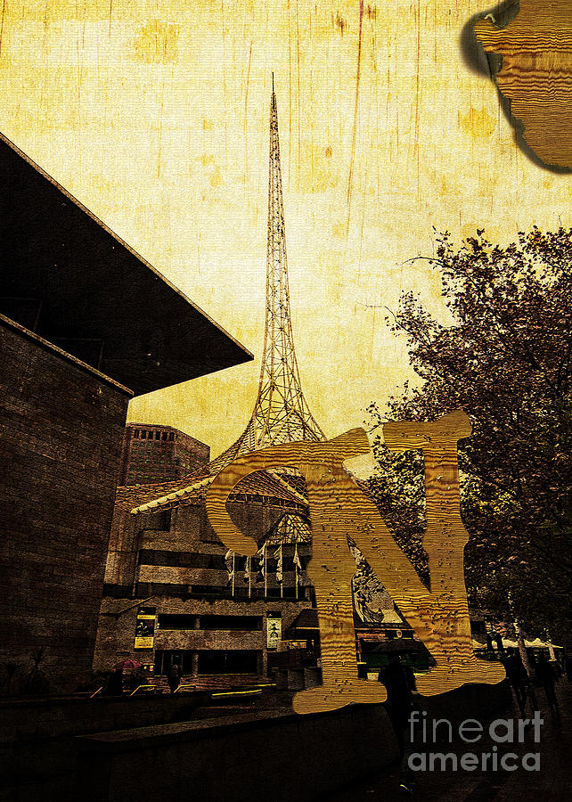 National Photograph - Grungy Melbourne Australia Alphabet Series Letter N National Gal by Beverly Claire Kaiya