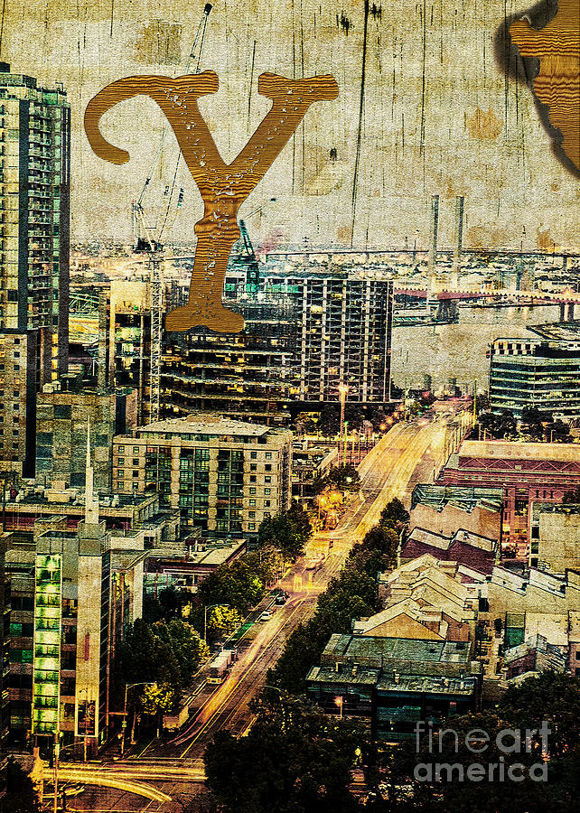 Yarra Photograph - Grungy Melbourne Australia Alphabet Series Letter Y Yarra River by Beverly Claire Kaiya