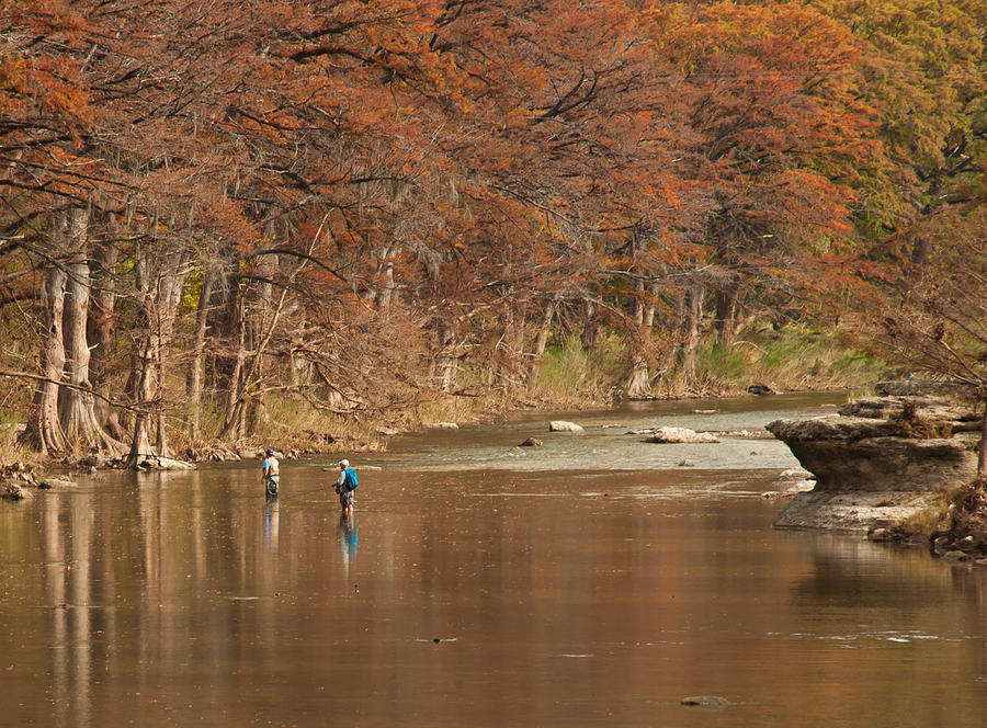 Fly Fishing Photograph - Guadalupe River Fly Fishing by Brian Kinney