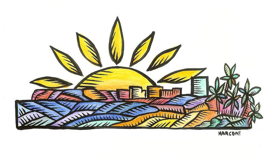 Guam Sunset 2009 Painting by Marconi Calindas