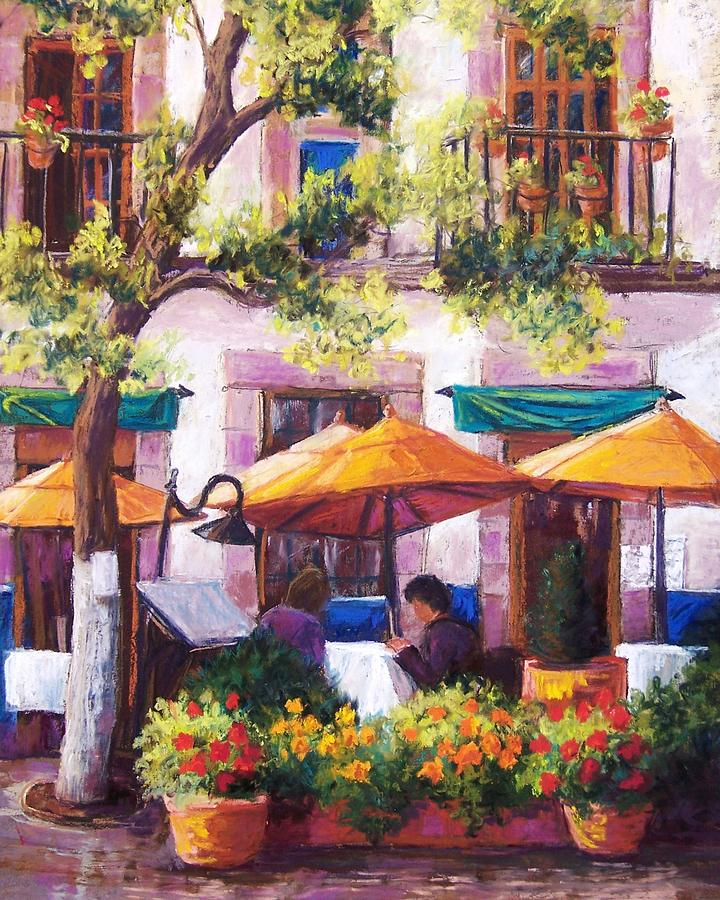 Sidewalk Cafe Pastel - Guanajuato Cafe by Candy Mayer