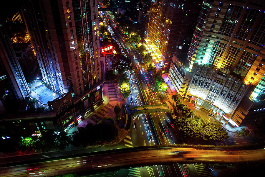 Guangzhou City Streets at Night by Geoffrey Lewis