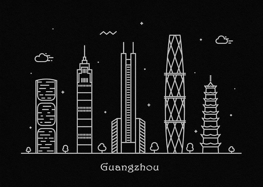 Guangzhou Drawing - Guangzhou Skyline Travel Poster by Inspirowl Design