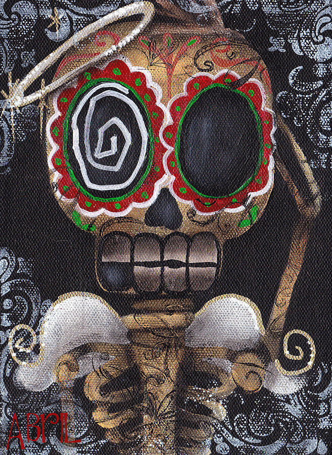 Day Of The Dead Painting - Guardian Angel  by  Abril Andrade Griffith