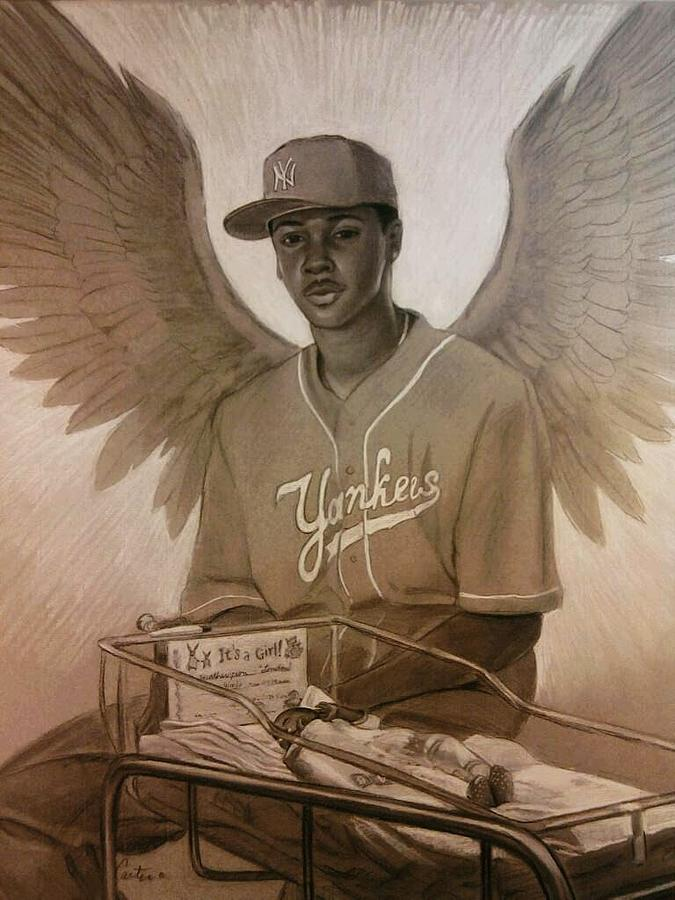 Angel Drawing - Guardian Angel by Calvin Carter